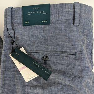 NWT Perry Ellis Blue Dress Pants Size 32x32